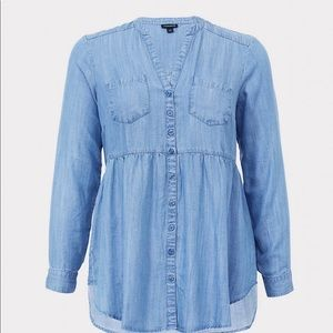 Torrid light denim colored blouse